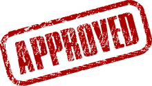 Rubber stamped image that reads 'approved'