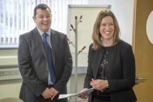 Catherine Calderwood and Andrew McIntosh laughing