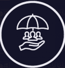 Logo showing hand holding 3 people with umbrella over them