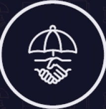 Logo with shaking hands and an umbrella