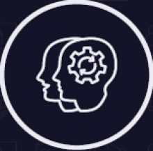 Logo showing the outline of two heads with a cog inside.