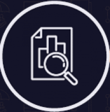 Logo with magnifying glass in front of a document