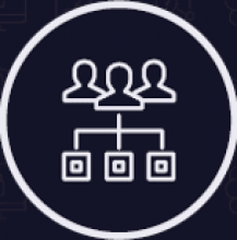Logo made of 3 heads and a flow chart with 3 boxes