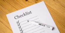 Checklist with boxes on paper